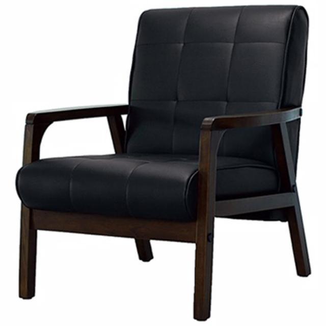 【ONE 生活】卡特單人沙發(黑*深咖啡*橘紅)
