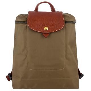 【Longchamp】皮飾邊折疊後背包(卡其色)