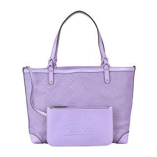 【GUCCI】經典皮革卯釘菱格紋提把購物子母包(薰衣草紫色)