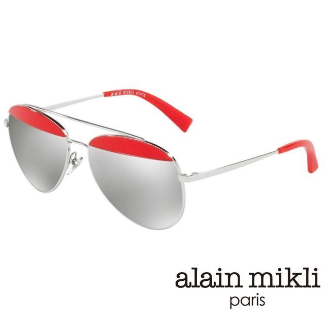 【alain mikli 法式巴黎】金屬雙樑眉框飛行員造型太陽眼鏡(艷紅 AL4004-006)