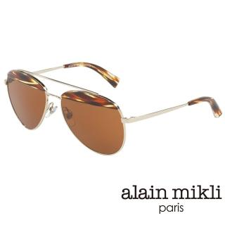 【alain mikli 法式巴黎】金屬雙樑眉框飛行員造型太陽眼鏡(琥珀 AL4004-002)