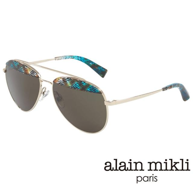 【alain mikli 法式巴黎】金屬雙樑眉框飛行員造型太陽眼鏡(孔雀藍 AL4004-005)
