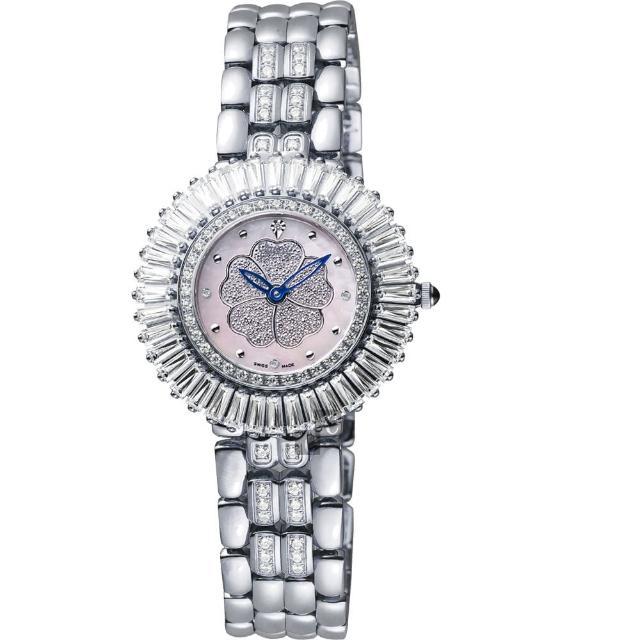 【Ogival】愛其華 山茶花煥彩真鑽腕錶-粉貝x銀/31mm(305-20DLW粉貝)