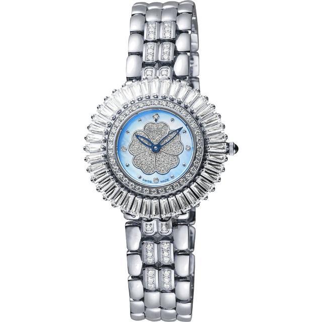 【Ogival】愛其華 山茶花煥彩真鑽腕錶-藍貝x銀/31mm(305-20DLW藍貝)