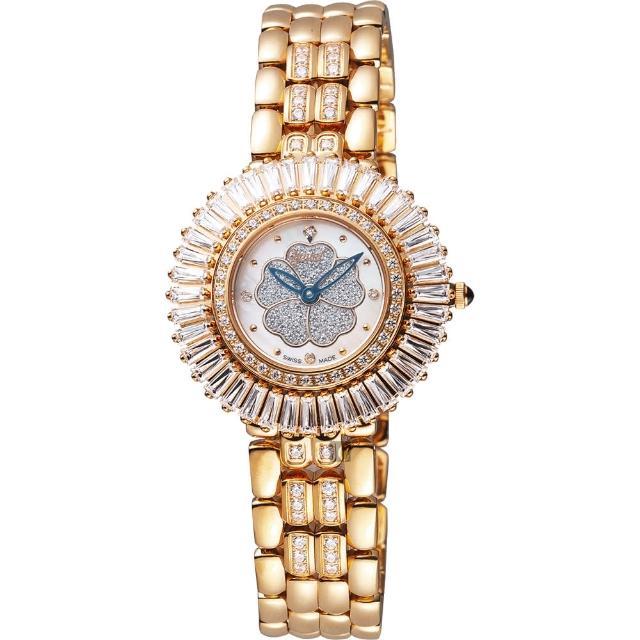 【Ogival】愛其華 山茶花煥彩真鑽腕錶-珍珠貝x玫塊金/31mm(305-20DLR)