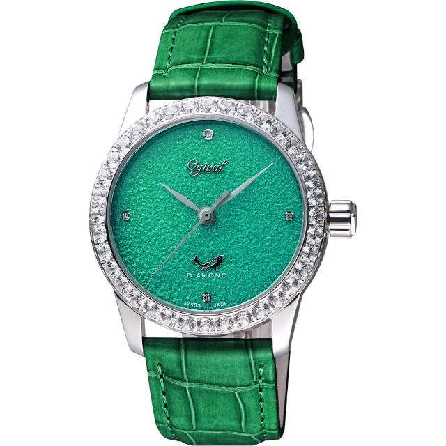 【Ogival】愛其華 琺瑯晶鑽機械腕錶-綠/37mm(1550.12AMW)