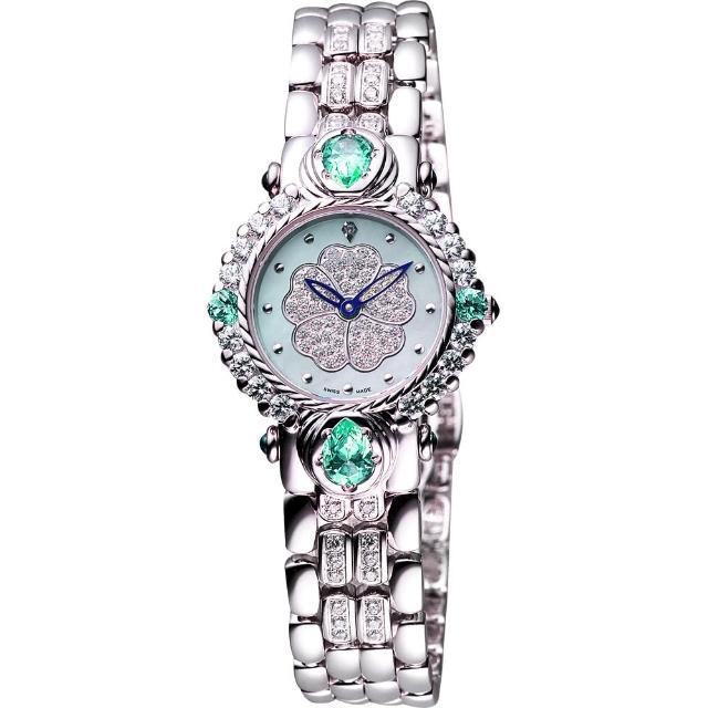 【Ogival】愛其華 綠玉山茶花真鑽腕錶-28mm(305-11DLW綠)