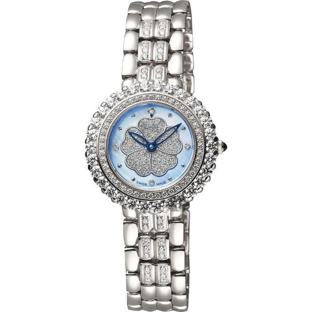 【Ogival】愛其華 山茶花珍愛真鑽腕錶-藍貝x銀/31mm(305-21DLW藍貝)