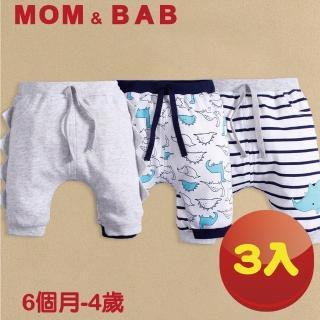【MOM AND BAB】淺藍恐龍純棉五分短褲-三件組(6M-4T)