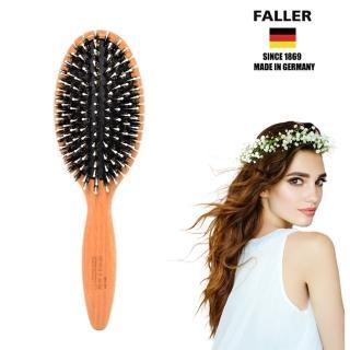 【德國FALLER芙樂梳具刷具】FSC櫸木橢圓黑豚鬃柔珠氣墊梳(讓您的秀髮閃耀動人)