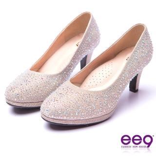 【ee9】芯滿益足-璀璨奢華名媛專屬夢幻晶鑽跟鞋*米色(跟鞋)