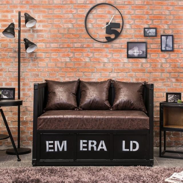 【Bernice】蒙馬工業風貨櫃造型沙發雙人椅/二人座(兩色可選)