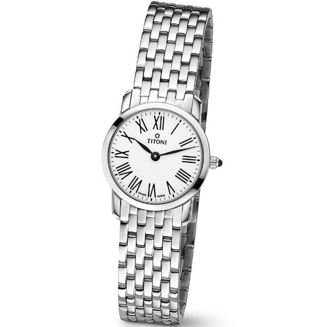 【TITONI 瑞士梅花錶】Slenderline 纖薄系列-白色錶盤不鏽鋼錶帶/24.5mm(TQ 42918 S-584)