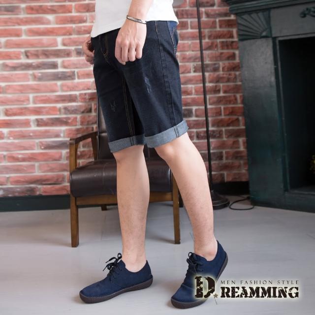 【Dreamming】韓系質感菱形皮標伸縮牛仔短褲(黑色)