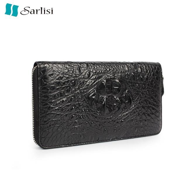 【Sarlisi】鱷魚皮皇冠長夾羊皮內層手拿包(黑色)