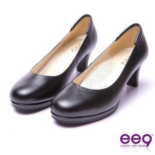 【ee9】ee9 芯滿益足都會優雅通勤私藏經典百搭素面防水台跟鞋 黑色(高跟鞋)
