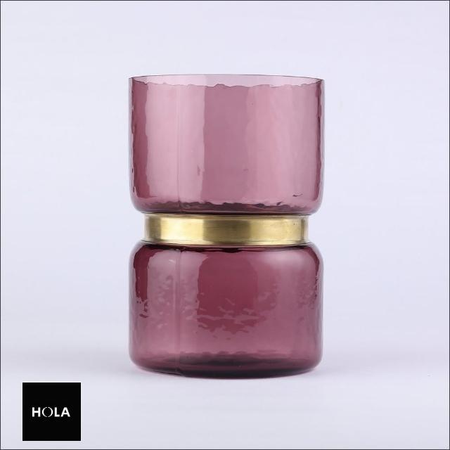 【HOLA】巧藝金屬環造型玻璃花器 紫