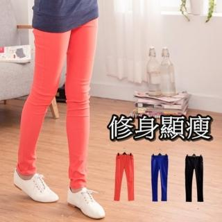 【衣心衣意中大尺碼】顯瘦身材 -平織彈性腰圍鉚釘口袋透氣窄管內搭褲(黑-藍-紅SN1A7003)