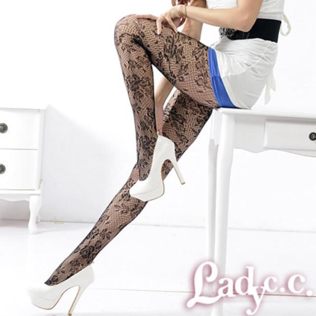 【Lady c.c.】復古玫瑰園圖騰造型褲襪