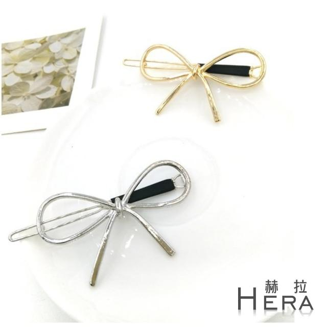 【Hera】赫拉 鏤空線條金屬蝴蝶結邊夾/髮夾/髮扣(2色)