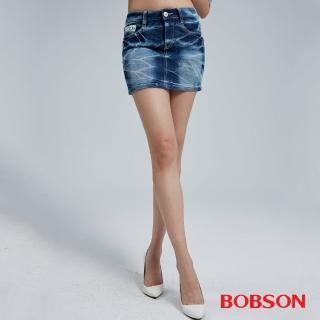 【BOBSON】女款蕾絲花邊配布牛仔短裙(D091-58)