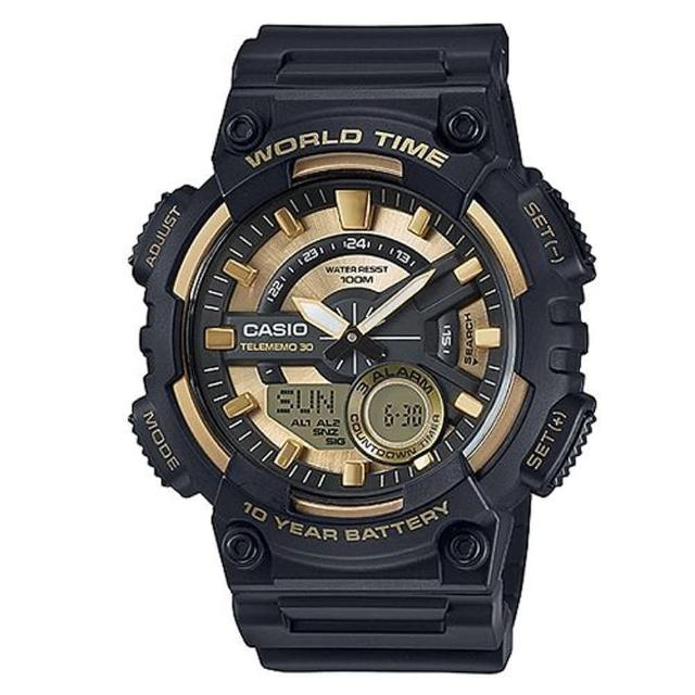 【CASIO】世界地圖設計造型概念雙顯錶(AEQ-110BW-9A)