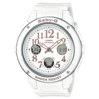 【CASIO】BABY-G 典雅粉嫩夏日精選雙顯錶(BGA-150EF-7B)