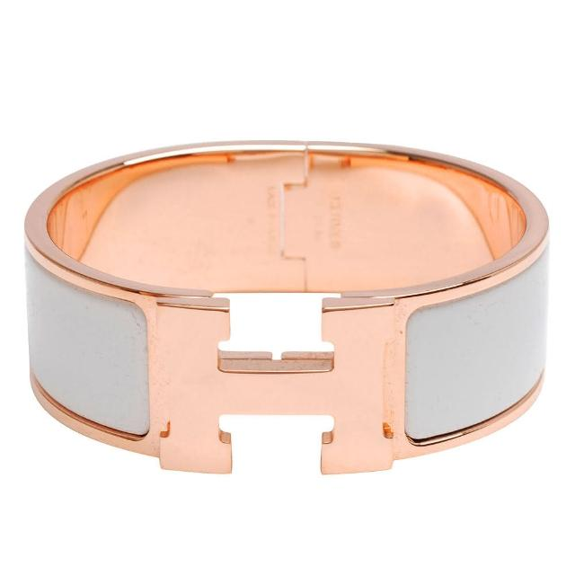 【HERMES】Clic H LOGO琺瑯中版手環(白X玫瑰金H300001F-WHI-ROSE GOLD)