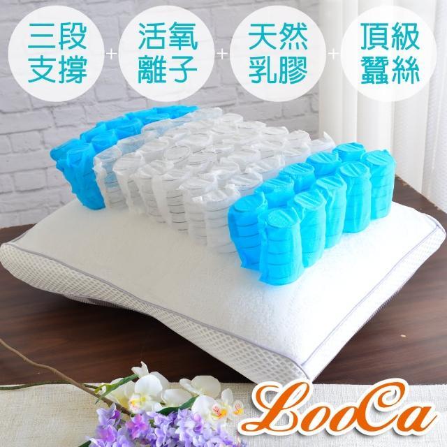 【快速到貨】LooCa全智能三段式乳膠負離子獨立筒枕(2入)