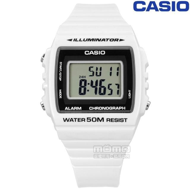 【CASIO 卡西歐】繽紛休閒方形數字鬧鈴運動腕錶 白色(W-215H-7A)