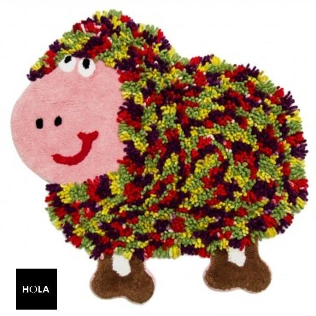 【HOLA】HOLA home動物派對棉踏墊70x70cm 彩羊