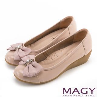 【MAGY瑪格麗特】甜美混搭新風貌 蝴蝶結戒指釦環造型真皮楔型鞋(粉紅)