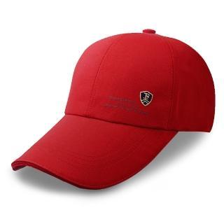 【活力揚邑】防曬防紫外線防風戶外運動透氣鴨舌帽盾形F刺繡棒球帽(紅)