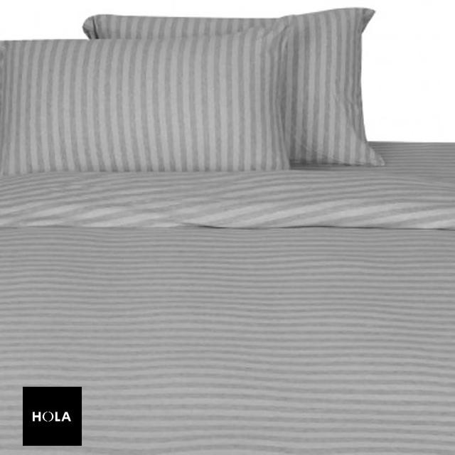 【HOLA】HOLA home自然針織條紋床包 雙人 經典淺灰
