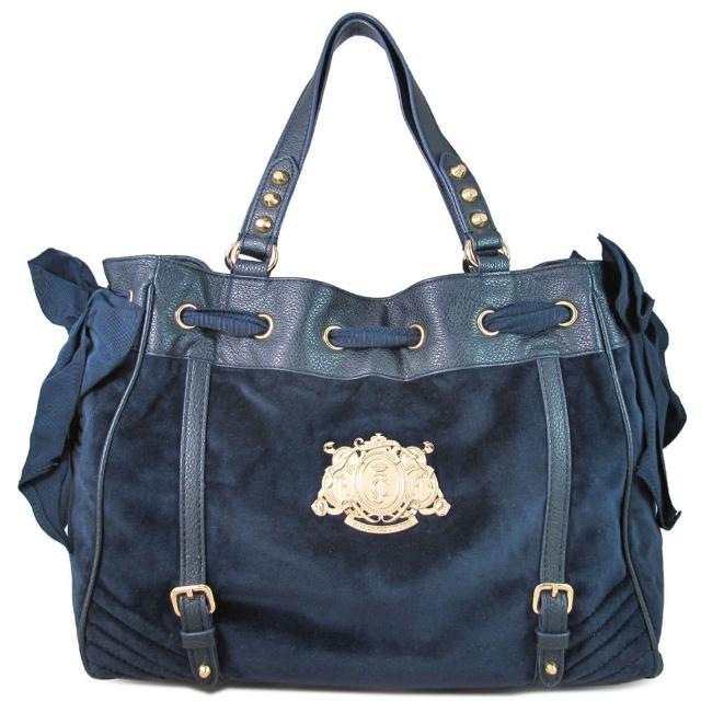 【JUICY COUTURE】皇家金屬標幟法蘭絨綁帶大托特包(深藍色)