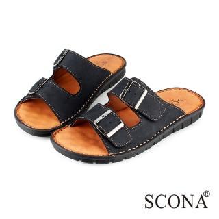【SCONA 蘇格南】全真皮 精緻手工厚底涼拖鞋(黑色1735-1)