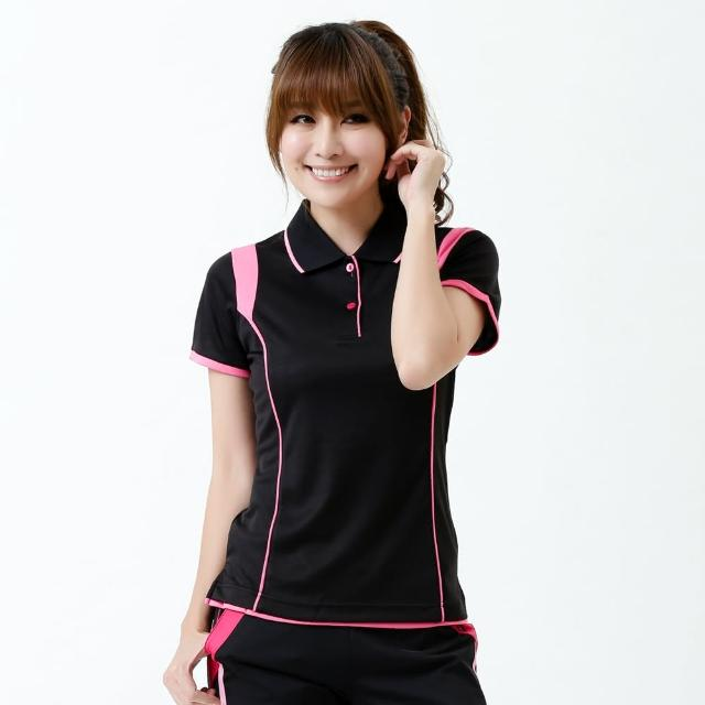【遊遍天下】台灣製女款抗UV吸濕排汗機能POLO衫 S127黑(M-5L)