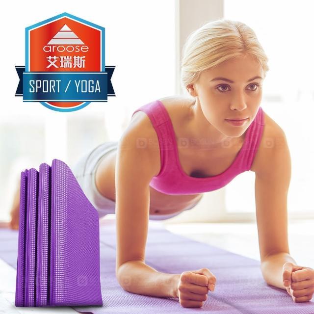 【aroose 艾瑞斯】可摺疊 6mm 雙面止滑加厚方便攜帶瑜珈墊(四色可選-送提袋)