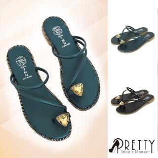 【Pretty】閃耀寶石霧面細帶套趾平底拖鞋(粉紅色、綠色、黑色)