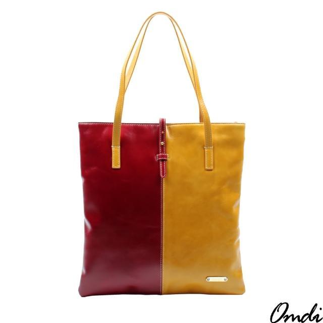 【Omdi】时尚拼接撞色肩背包(红黄色)
