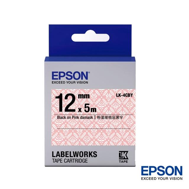 【EPSON】標籤機色帶粉漾綾格底黑字/12mm(LK-4CBY)