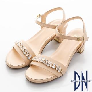 【DN】奢華派對 耀眼寶石鑽飾低跟涼鞋(卡其)