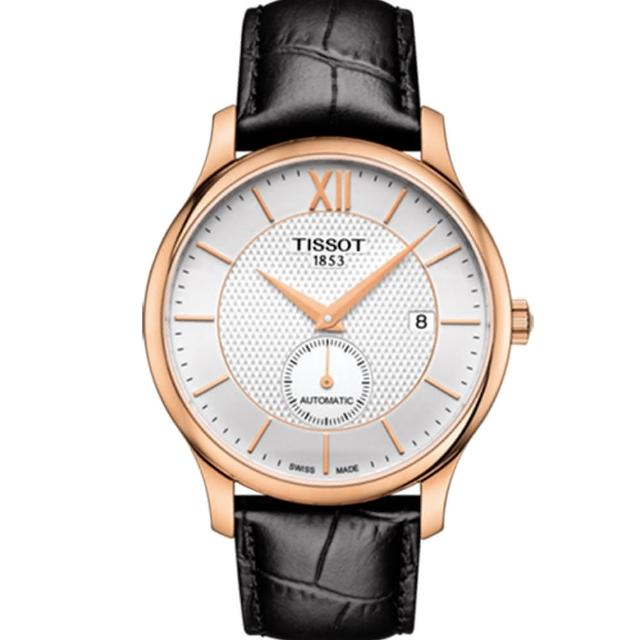 【TISSOT 天梭】TRADITION 38小時動力儲存時尚男性皮帶機械腕錶(40mm/T0634283603800)