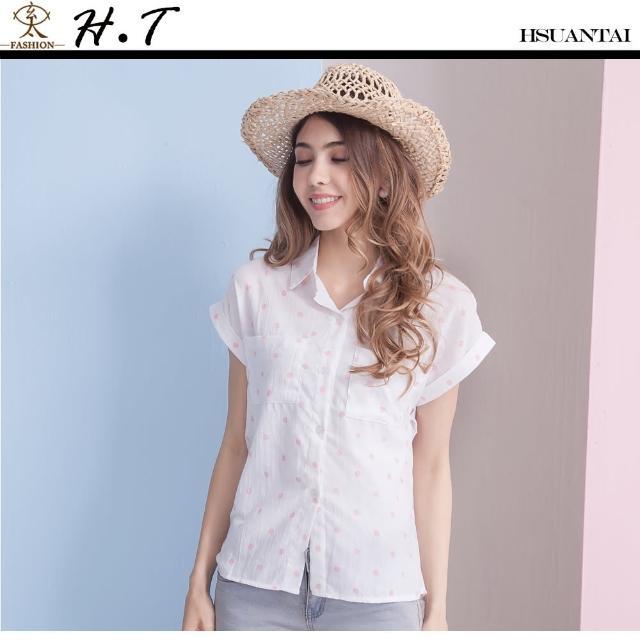 【玄太】舒適棉質寬袖粉嫩點點造型襯衫(粉嫩白)