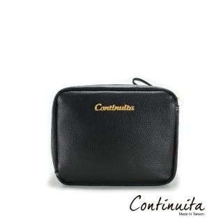 【Continuita 康緹尼】頭層牛皮日本愛美女孩方形手拿化妝包(黑色)