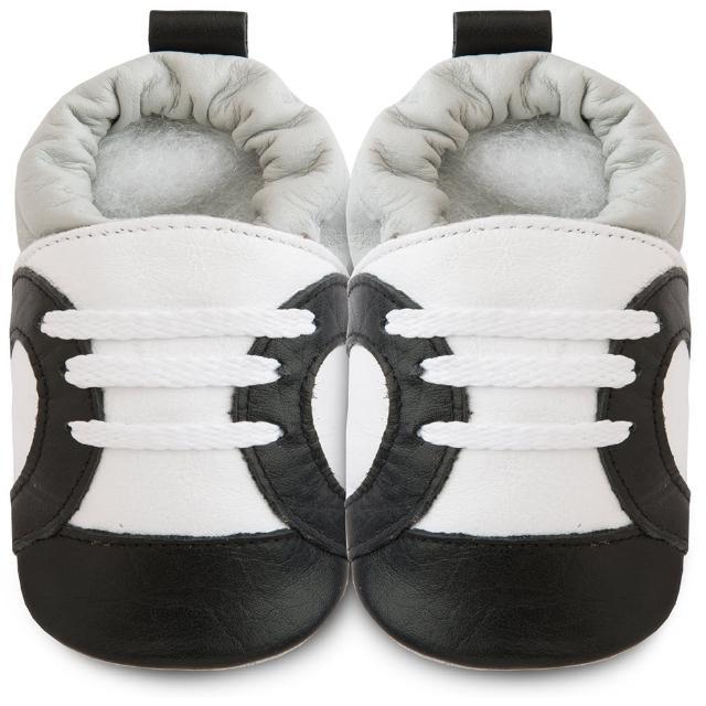 【英國 shooshoos】健康無毒真皮手工學步鞋/嬰兒鞋 黑白運動型(SS102952)