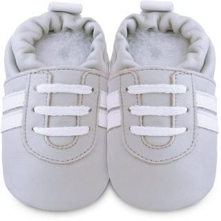 【shooshoos】安全無毒真皮健康手工學步鞋/嬰兒鞋/室內鞋/室內保暖鞋_灰白運動型_SS102958(公司貨)