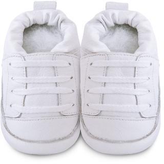 【英國 shooshoos】健康無毒真皮手工學步鞋/嬰兒鞋 純白運動型2(SS102961)