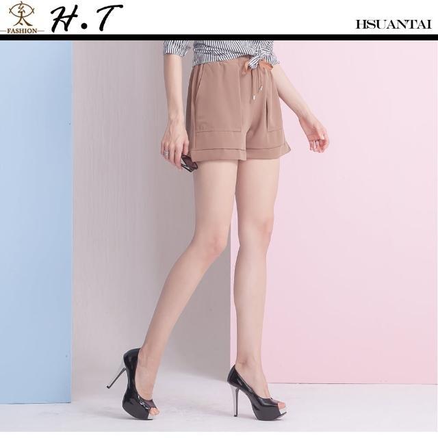 【玄太】純色抽繩鬆緊褲頭舒適短褲(褐)