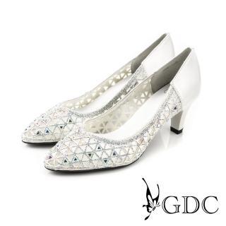 【GDC】三角水鑽簍空拼接真皮尖頭高跟鞋/婚鞋-白色(714900)